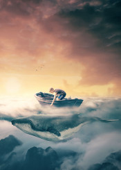 boy boat sky clouds above dreamy whale birds fantasy surreal tales