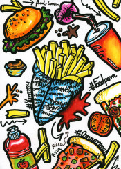 doodle doodles drawing illustration colourful colours fries food foodporn fastfood pizza omnomnom ketchup hamburger cola yummy
