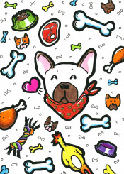 doodles doodle drawing illustration colourful colours fun lines dog doggie dogs french frenchie bulldog chicken steak bone toy lover bowl food heart happy