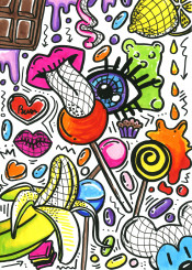 doodles doodle drawing colourful colours food foodporn yummy omnomnom lines sweets sugar chocolate choco banana lollipop splash gummy bear lips tongue eye haribo jelly heart