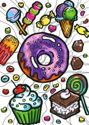doodles doodle drawing food foodporn donut sweets illustration icecream lolipop muffin lines colourful
