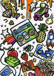 doodles doodle drawing colours colourful illustration 80 retro boombox