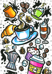 doodle doodles drawings illustration colourful colours coffee drink coffe cafe dring food cup muffin croissant sugar sweet morning latte cappuccino mocca espresso