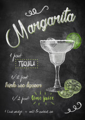 margarita teguila lime alcohol drink cocktail recipe chalkboard lettering typography