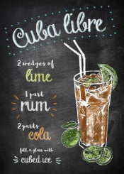 cuba libre drink cocktail alcohol chalkboard typography lettering