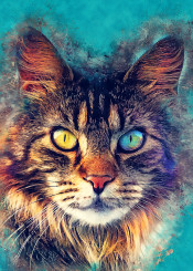 cat cats kitty animal animals watercolor digital illustration decor decoration