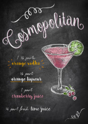 cosmopolitan drink cocktail cranberry lime alcohol chalkboard lettering typograhpy