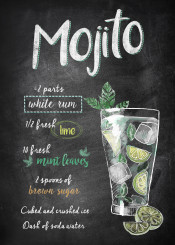 mojito alcohol recipe chalkboard drink cocktail lime mint lettering typograhpy lemon kitchen
