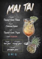 mai tai cocktail drink alcohol recipe chalkboard pinapple