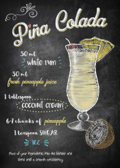 pina colada recipe alcohol drink cocktail coconut pinapple chalkboard lettering typography