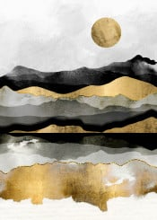 golden gold spring moon landscape nature black digital watercolor grey white gray contemporary abstract hills mountians