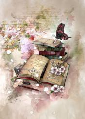 books sakuras butterfly photography spring pencil