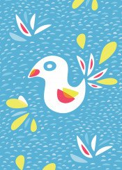 abstract bird chicken chick blue cute vector illustation decorative whimsical sweet festive modern spring bright