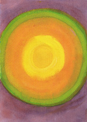 abstract circle round shape painting watercolor fine yellow orange green purple ring meditation calm soothing energy cool
