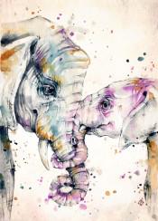 elephant elly baby mumma love animal africa elephants sweet cute little purple sillierthansally watercolour watercolor painting