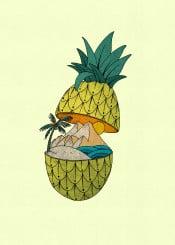 pineapple tropicalisland pineappleisland island mountain ocean beach sea tropicalbrief sun sunset summer summervibes cool beautiful drawing handdrawn fineart urban abstract surreal