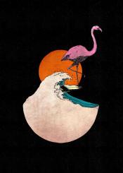 flamingo beautifulflamingo bird animal fantasy surf surfing cute cool sport watersport sun sunset sunsetvibes fun funny ocea sea ocean wave waves wavehunter illustration handdrawn handdrawing fineliner fineart
