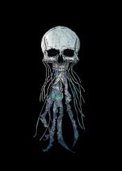 jellyfish jllyskull skull skullhead fantasy horror scary darkart skeleton fish fun funny cool cute beautiful illustration fineart drawing handdrawn fineliner digital skullposter