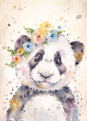 panda baby cute fluffy floral flowers nursery cutie animal wildlife watercolour watercolor painting sillierthansally blue yellow little boho whimsical