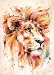 lion majestic proud pride red sunset sunrise autumn fierce eyes animal wildlife africa painting watercolour watercolor sillierthansally boho whimsical strong dynamic loud