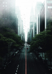 nyc newyork manhattan midtown city fog mist urban road tudor architecture