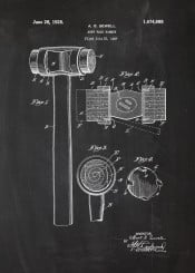 soft face hammer tool nail nails tools patent drawing vintage blackboard blueprint chalk