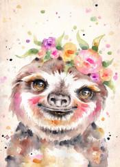 sloth cute animal flowers floral eyes portrait nursery sweet love endearing wildlife pink orange