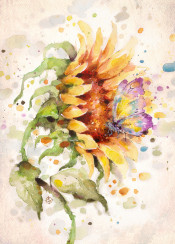 flower sunflower sun floral butterfly pretty inspiring beautiful watercolor watercolour sillierthansally yellow sunset friends