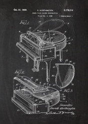 piano grand fortepiano music instrument instrumental chopin bach mozart play musical orchestra balckboard blueprint blackprint patent drawing vintage classic classical