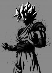 anime manga ink splatter goku kaioken genkidama saiyan super over 9000 dragon ball ozaru