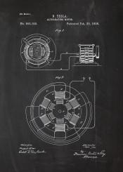 tesla motor engine alternating engineering engineer construction patent drawing blackboard blueprint vintage