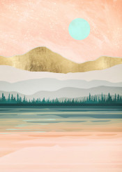 spring forest lake trees reflection water gold blue aqua coral pink salmon season green abstract contemporary digital watercolor nature pastel dream landscape