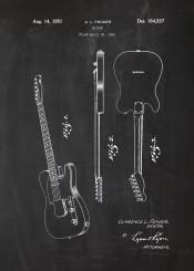 guitar music musician rock roll funky blues blackboard blueprint blackprint batent vintage drawing stereo mono hendrix play electric fender gibson tremolo classic