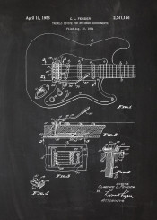 guitar bass player string stringed device tremolo blackboard blueprint blackprint patent drawing vintage fender gibson play stereo rock blues funky pop roll sound record recorder studio instrument musical