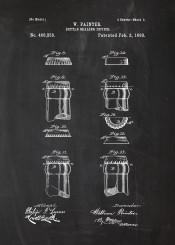 bottle cafe cafeteria beer sealing drink water vintage patent drawing blackboard blueprint chalk