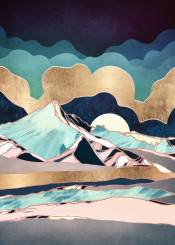 indigo spring season mountians clouds abstract contemporary blue navy aqua mint pink gold landscape nature digital dream