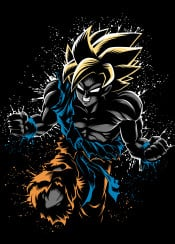 saiyan anime ozaru super power battle goku manga otaku splatter japan japanese ink attack fusion