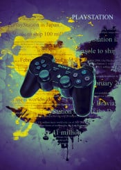 playstation sony controller ps1 ps2 ps3 ps4 psp gaming video games console color splash weapon