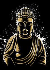 japan anime japanese asia god gold godness splatter ink siddaharta gautama buddha buddhism buddhist