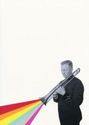 musician trombone sound rainbow stripes man male figure portrait vintage modern retro colourful multicolour