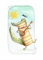 croco crocodile animal animals wild cartoon happy fun funny guitar kid kids