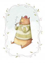 happy bear animal animals fun funny kid kids retro vintage watercolor watercolour sweet cute flute