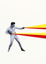 boxer boxing stripes vintage portrait man male figure retro minimal red yellow grey sport strong bold