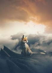 fox sky dreamy orange rock cliff clouds mountains high birds photomanipulation moody