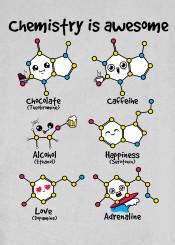chemistry molecule molecules laboratory chocolate caffeine alcohol happiness serotonin love dopamine adrenaline nerd atom atoms kawaii science
