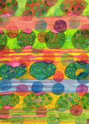 round shapes cool pattern watercolor translucent colors bright happy fun floating stripes green pink blue painting lovely beautiful contemporary fine