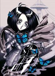 alita gunnm battle angel robot cyborg girl armor armour butterfly butterflies cyberpunk manga anime cute