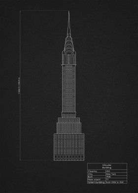 Greatest buildings by rockstone displate chrysler building architecture design blueprint drawing nyc usa new york malvernweather Choice Image