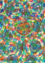 geometric geometry circles abstract fine painting watercolor colorful rainbow clouds contemporary