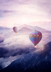 mountains landscape hotairballons sunset fantasy magical clouds surreal